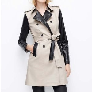 Ann Taylor Contrast Trench Coat Leather Sleeves